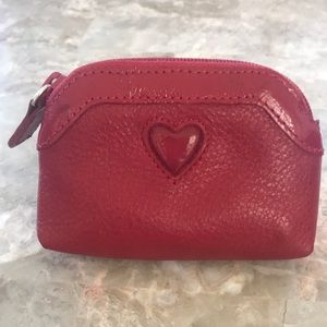 Vintage Brighton Red Leather Coin Pouch NWOT